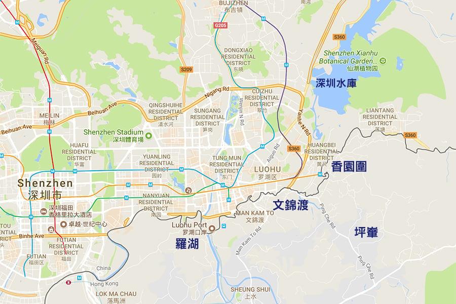 政府晚上8時半左右公佈,稱接獲深圳有關當局通知,深圳水庫於今晚(18日)九時排洪。新界北部地區可能受排洪影響而出現水浸情況。(Google地圖)