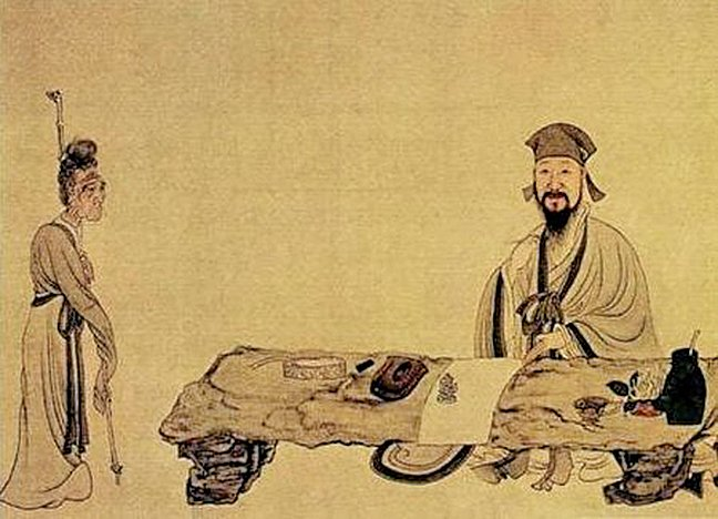 明《南生魯四樂圖》(局部),畫中表現白居易作詩通俗,老嫗可解。(公有領域)