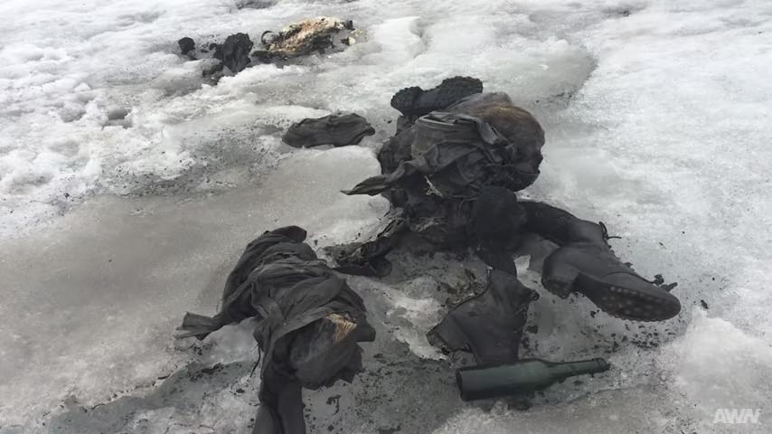 瑞士一對夫婦1942年在阿爾卑斯山失蹤,75年後,兩人的遺體在一處面積縮小的冰川中被發現。(視像擷圖)