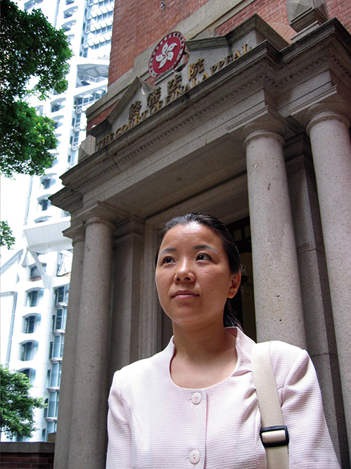 法輪功學員周勝是「阻街案」上訴人之一。她在勝訴當天表示,法輪功勝訴對整個香港都有影響,讓所有請願人士的權利都得到保障。(大紀元資料圖片)