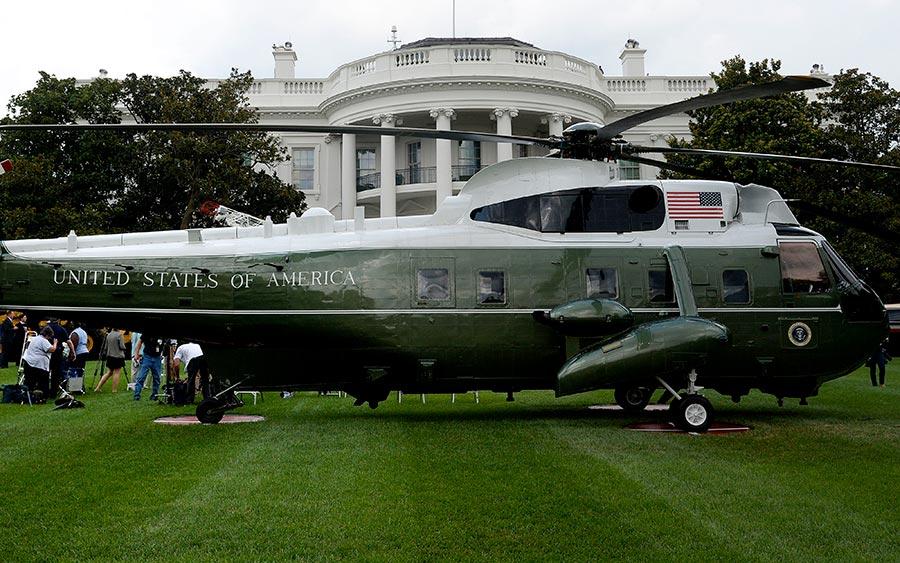 由美國製造的總統專機在白宮展示。(OLIVIER DOULIERY/AFP/Getty Images)
