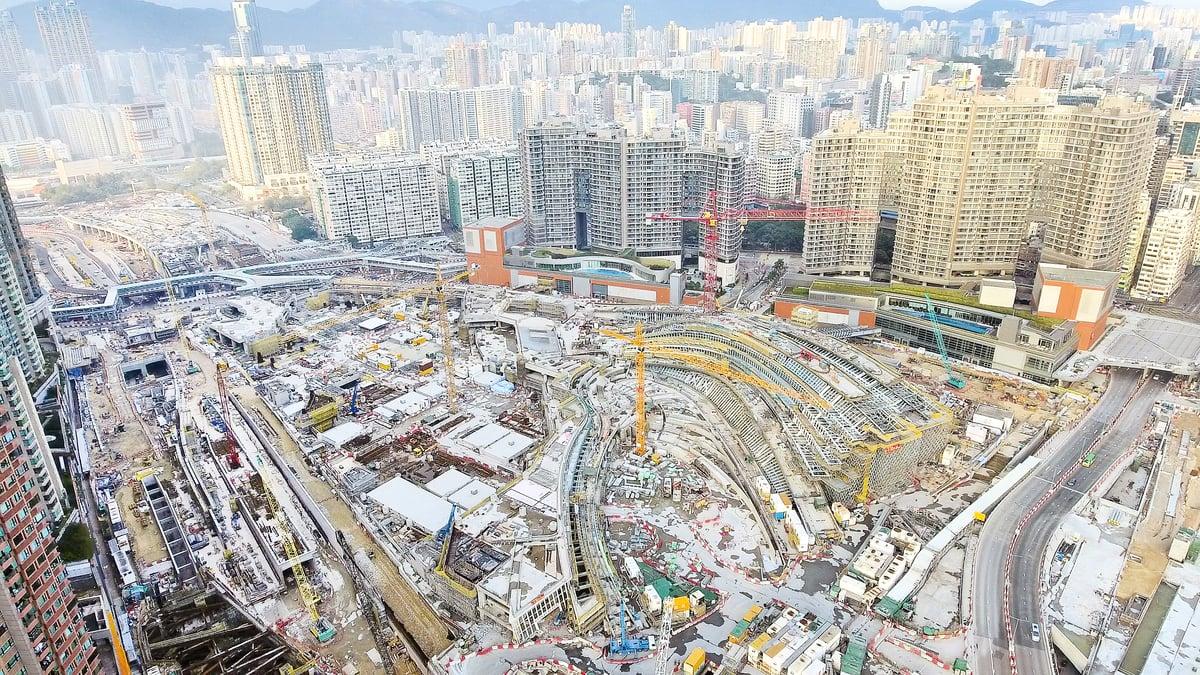 圖為廣深港高鐵香港西九總站地盤。(大紀元資料圖片)