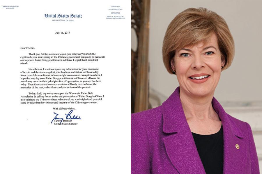 威斯康星州的聯邦參議員塔米·鮑德溫(Tammy Baldwin)發來的支持信。(大紀元)