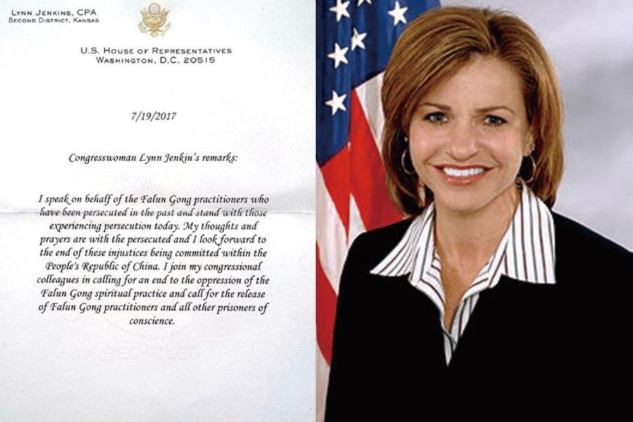 堪薩斯州國會議員琳恩·詹金斯(Lynn Jenkins)發來的支持信。(大紀元)