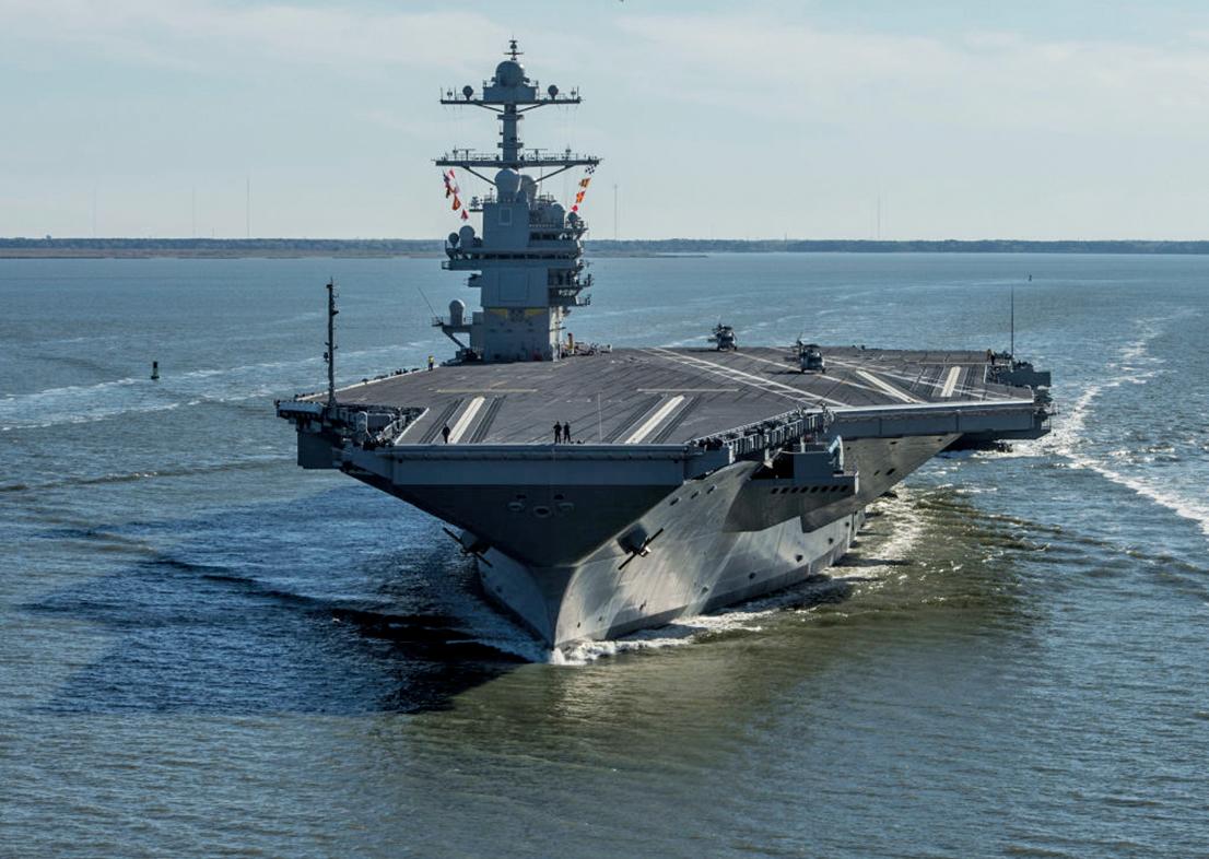 全球最先進的航母、美國最新型核動力航母「福特號」周六(22日)正式在美國海軍服役。(Getty Images)