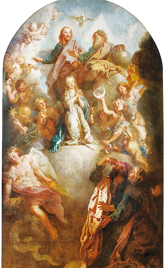 2.5米乘4.5米的巨幅畫作《祝聖母成聖體圖》(La Consecration de la Vierge),是巴黎巴克路教堂的高壇畫。畫家嚴格遵守天體層次結構:聖母在畫面上部中心的雲端上,右下方安妮和約阿希姆讚歎地看著他們的女兒,他們代表了塵世領域的忠誠,對面大天使加百列擊敗魔鬼,雲端上一大群天使環繞聖母演奏著音樂,畫面最上方是三位一體的主神。這是福斯生命後期最重要的作品之一。他用了比較亮麗的顏色如白色、淡藍色、粉紅色。