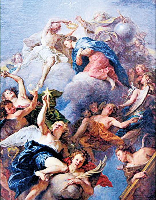 《聖母加冕圖》(Le Couronnement de la Vierge)是舒瓦西禮拜堂的天頂畫,最高的雲端上是三位一體的主神,聖母在天堂裏接受耶穌授予的花冠,一群天使陪同在祂身畔。每位天使都攜帶著一件聖物:如月亮、門、椅子、棕櫚枝、星星。