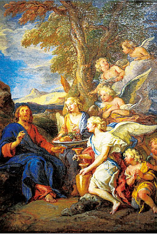 《天使服伺沙漠中的耶穌》(Le Christ au désert servi par les anges)表現了《聖經》中「耶穌受試探」的故事。耶穌成道後,在施洗約翰處接收洗禮,之後受聖靈引導,到曠野禁食四十晝夜。這時,魔鬼出現,誘惑並攻擊他,許諾只要耶穌敬拜魔鬼,將得到世上萬國的權柄和榮耀。耶穌抵制住了魔鬼的試探,最終魔鬼離開了他。然後,天使出現在耶穌面前並帶給他食物。畫面中,對比生動的天使形像,端坐的耶穌顯得鎮定而淡泊。
