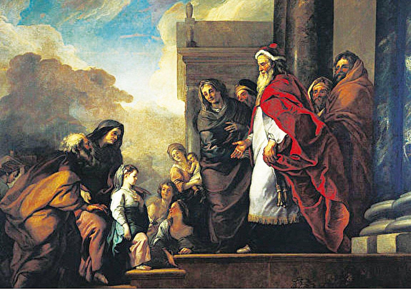 《年幼的聖母去寺院的情景圖》(La Presentation de la Vierge au Temple)是3米乘4米的巨幅畫作,畫中人物景像圍繞著大對角線展開,從左邊開始年幼的瑪麗登上古廟門前的階梯,其父母安妮和約阿希姆緊隨其後,大祭司在門柱前相迎。在這幅畫中,福斯的靈感來自於威尼斯博物館裏提香同主題的畫作。