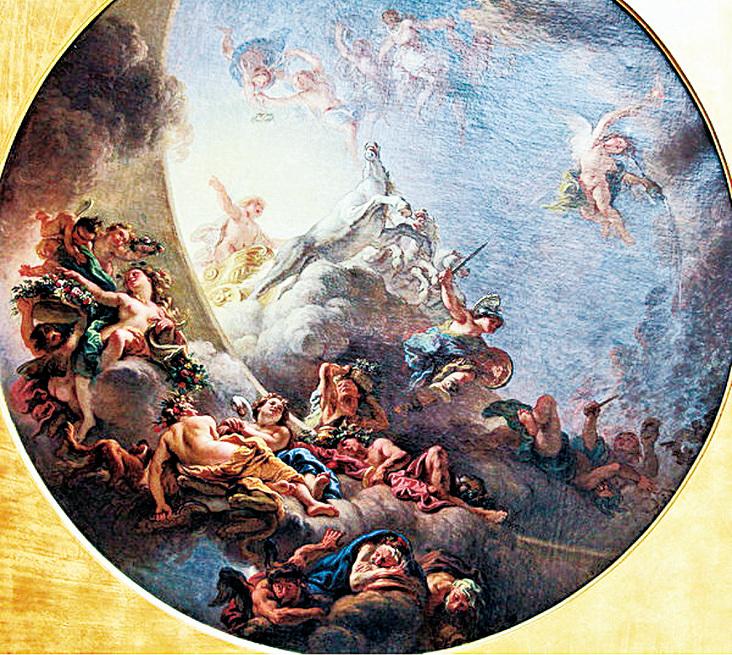 來 自 魯 昂 的《日 出》(Le Lever du Soleil),這幅畫,一直被認為是凡爾賽宮阿波羅廳穹頂畫的首稿。