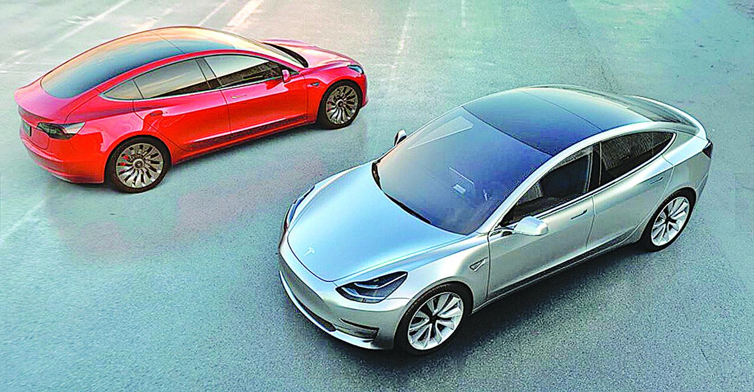 特斯拉Model 3。(Tesla)