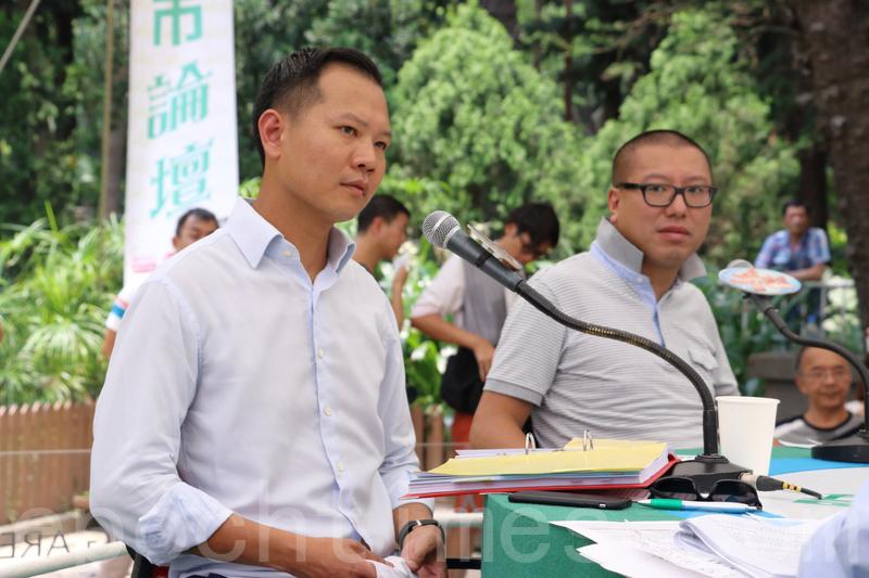 法律界立法會議員郭榮鏗(左)、法政匯思召集人任建峰,均為一地兩檢破壞《基本法》。(蔡雯文/大紀元)