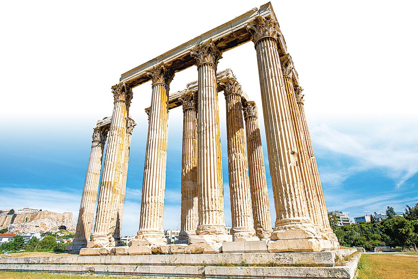 希臘首都雅典市中心的奧林匹亞宙斯神廟。(Fotolia)