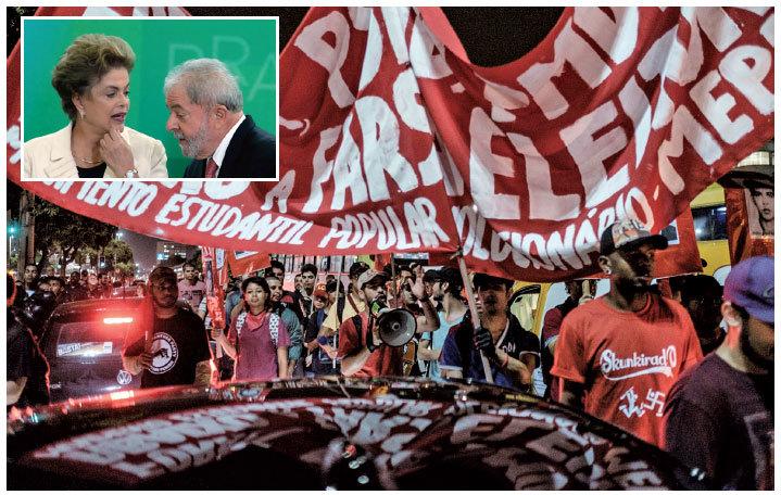 巴西民眾3月30日在第2大城里約熱內盧抗議女總統羅塞夫(小圖左)。羅塞夫3月16日任命前總統魯拉(小圖右)擔任幕僚長,使他免於受到聯邦法院起訴,致抗議活動越演越烈。(大圖:AFP、小圖:Getty Images)