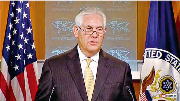 美國國務卿蒂勒森周二表示,目前中美關係正處於轉捩點。(網絡截圖)