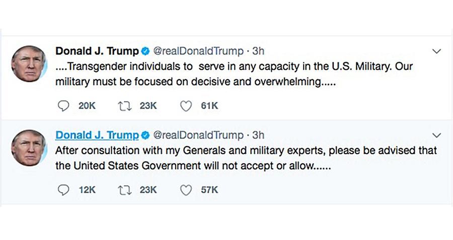 支持變性人服役禁令 美將軍司令聯名讚特朗普