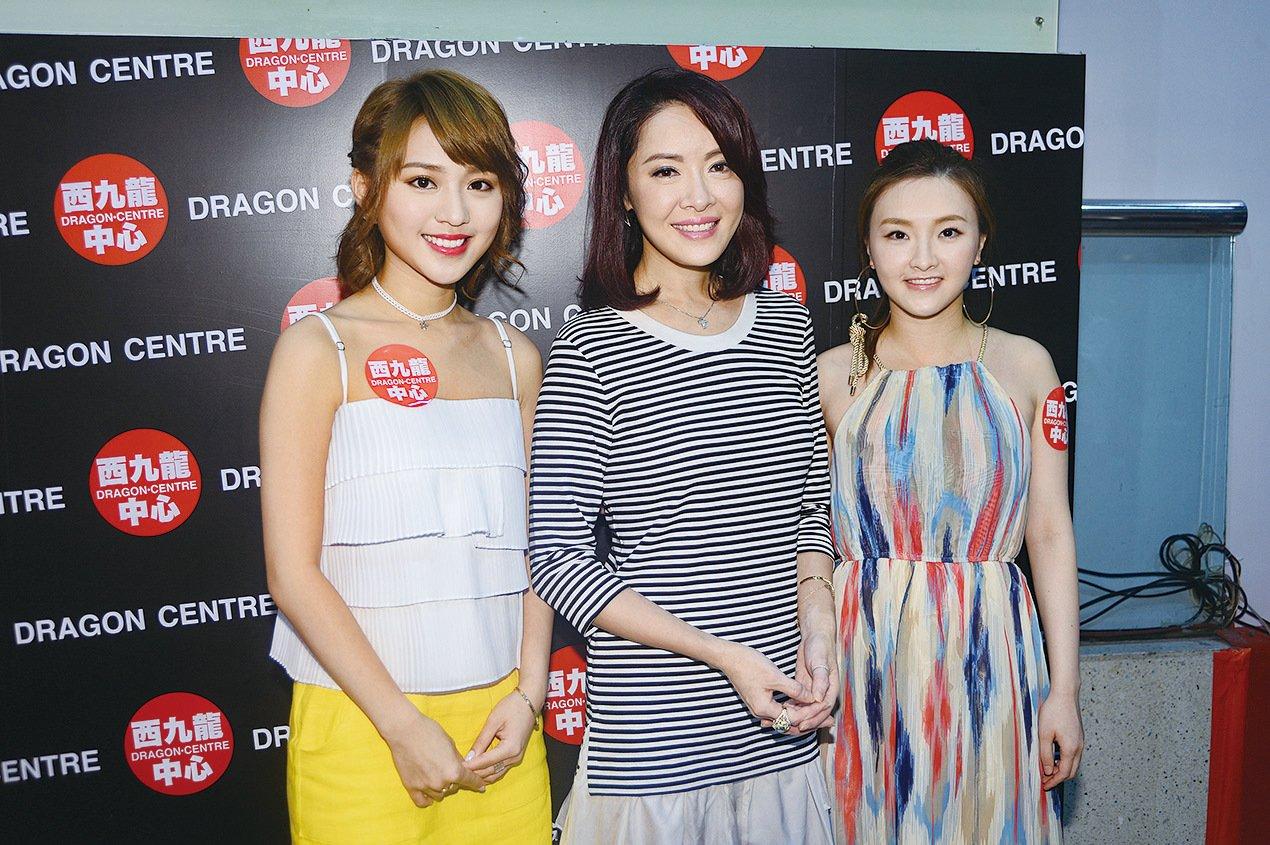 林穎彤(左)、向海嵐(中)、林欣彤(右)出席音樂劇記者會。(宋碧龍╱大紀元)