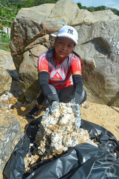 昨日有近百名市民,到南丫島的海灘清理棕櫚硬脂。(宋碧龍/大紀元)