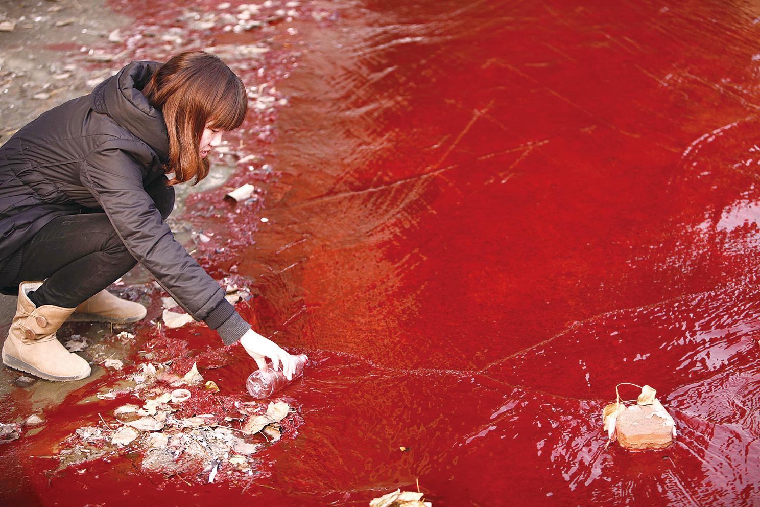 生態的破壞是造成人類毀滅的一種可能。圖為被污染成紅色的洛陽澗河。(Getty Images)