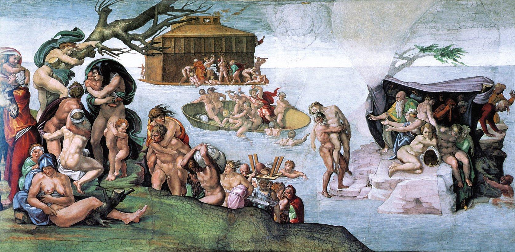 米開朗基羅的作品《大洪水》局部圖,繪於梵蒂岡的西絲汀教堂。(公有領域)