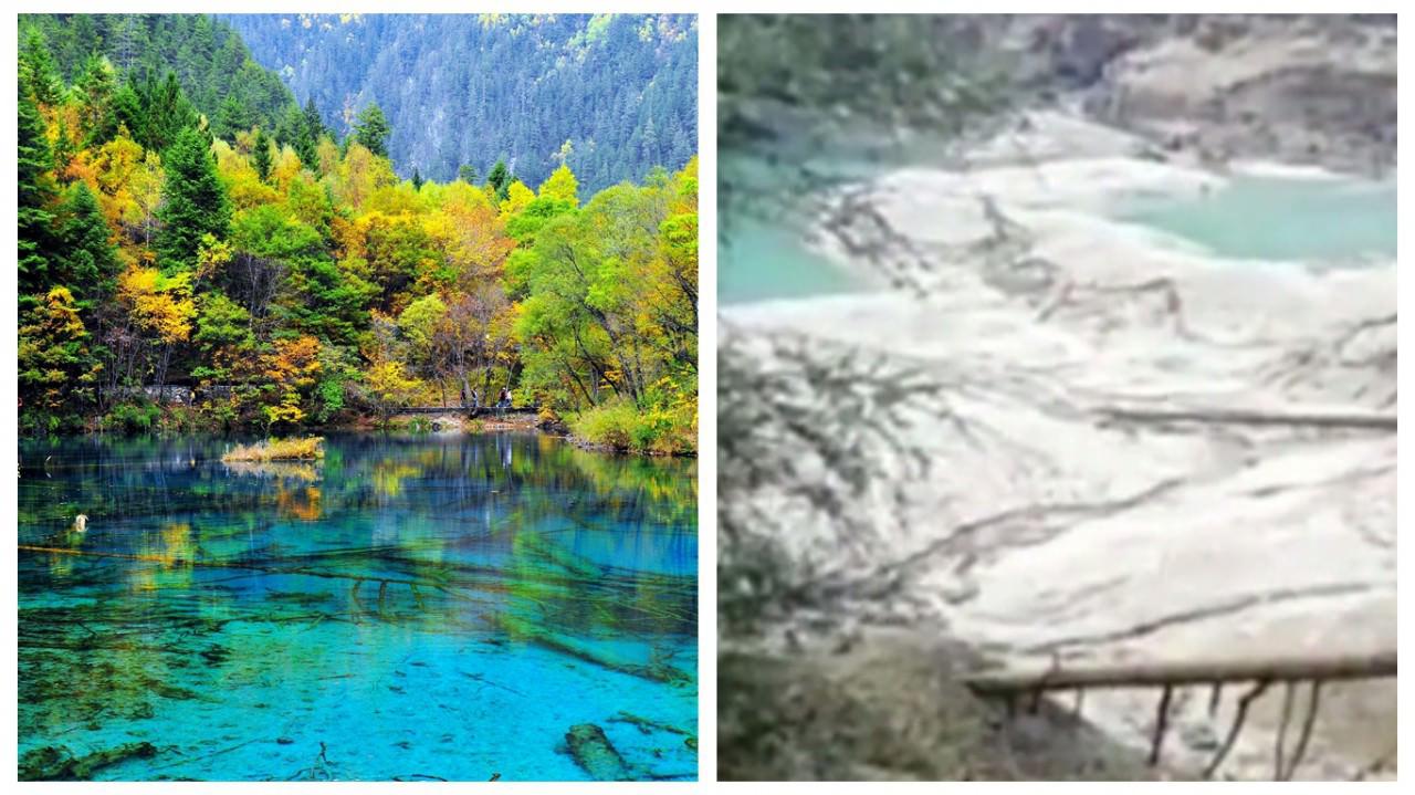 網絡片段顯示,著名景點「火花海」在地震中損毀,原本清澈的湖水(左)已幾近乾涸(右),不復昔日絕景。(網絡圖片)