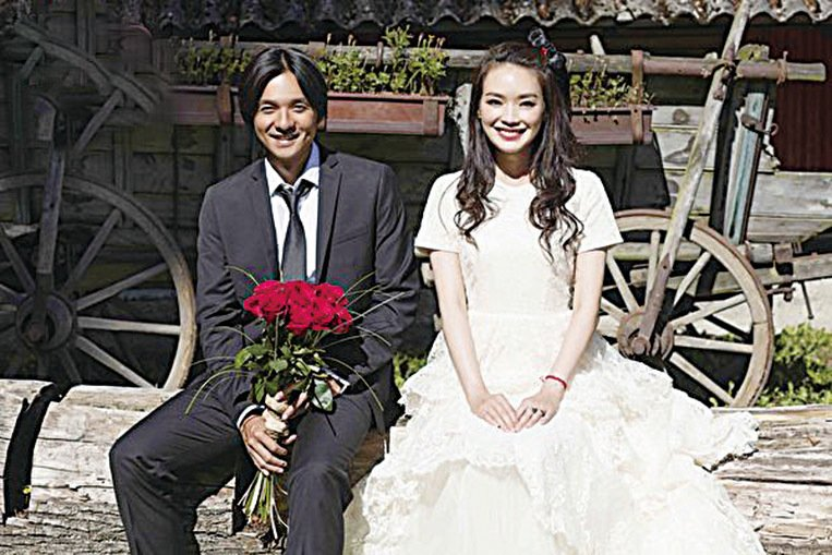 舒淇與馮德倫結婚照。(資料圖片)