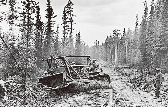 1942年阿拉斯加公路施工現場(網路截圖)