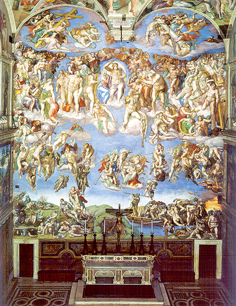 《最後的審判》,1536至1541年。濕壁畫,1,370 ×1,220厘米,羅馬,梵蒂岡西斯汀禮拜堂的祭壇畫。