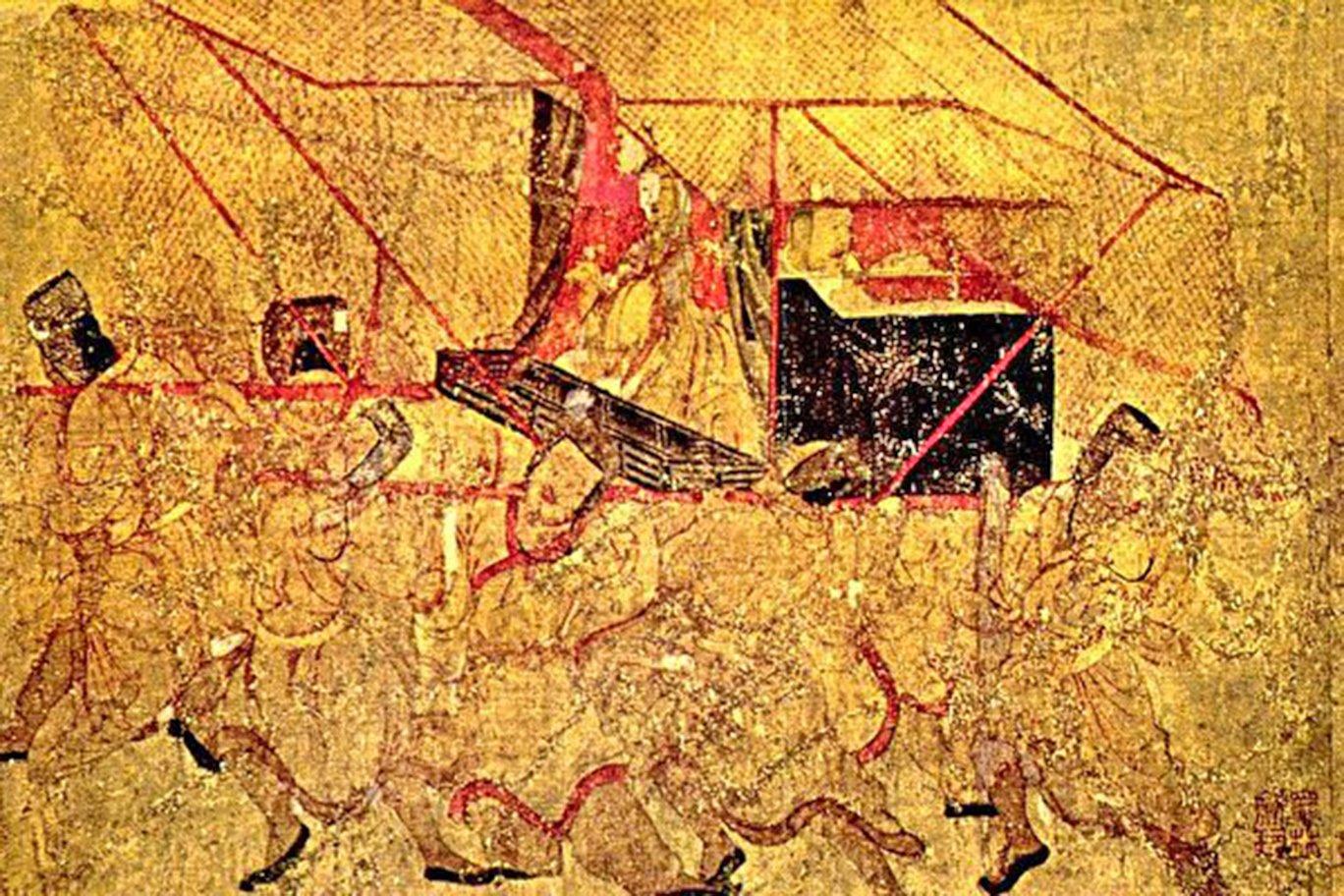 南北朝 顧愷之〈女史箴圖〉中的〈班姬辭輦圖〉(倫敦大英博物館 藏)畫中轎夫的身段線條出神入化,極富韻律感(公有領域)