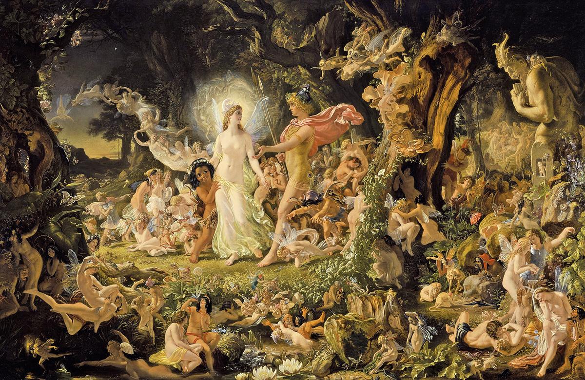 《仲夏夜之夢》──〈奧布朗與提泰妮婭的爭吵〉,約瑟夫.諾埃爾.佩頓繪(維基百科)