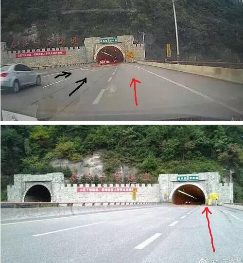 長途客車行駛在右邊第三車道,車開到隧道口時,第三車道沒了。隧道口的右邊框正好位於第三車道的正中間。(網絡圖片)