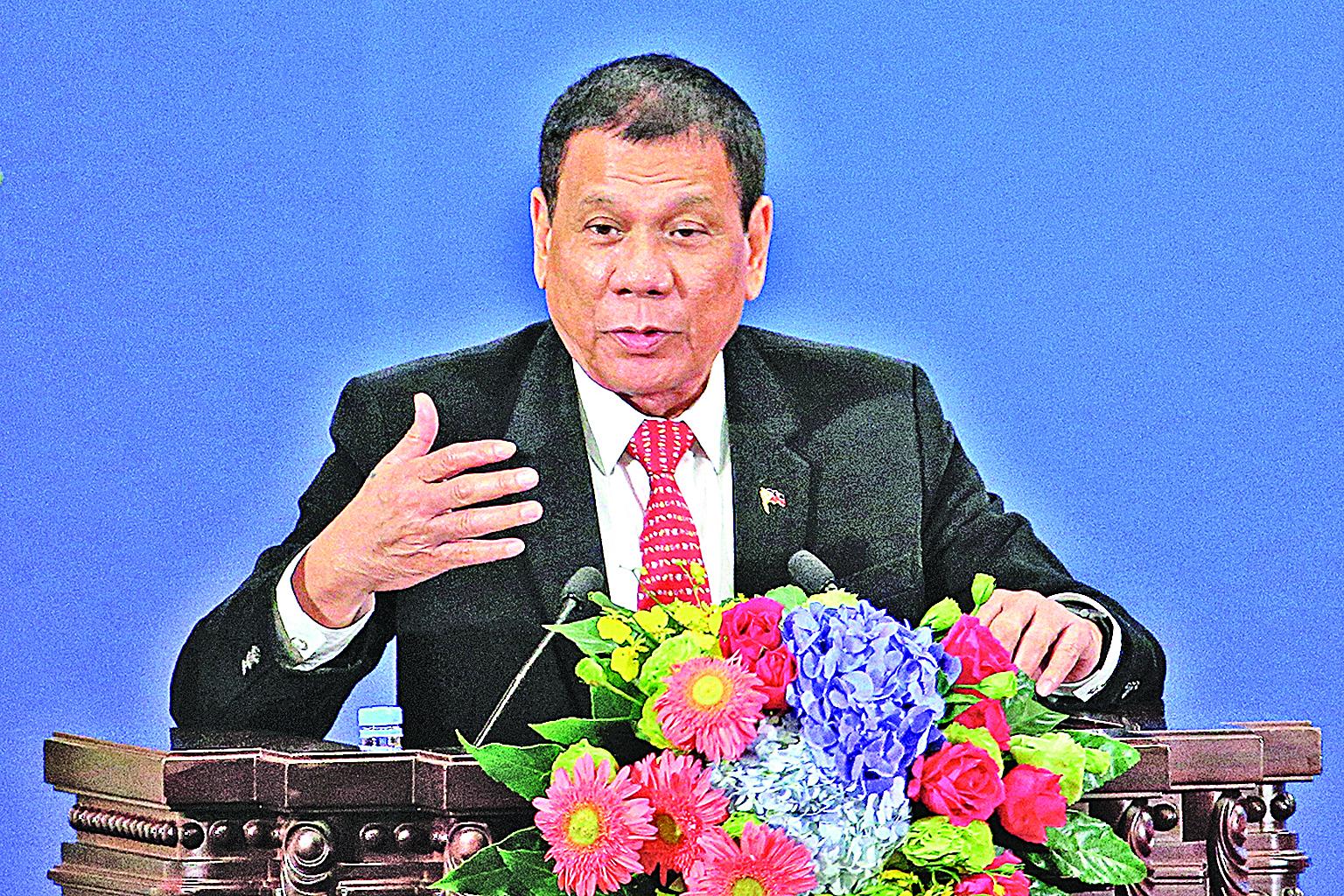 2016年10月20日,菲律賓總統杜特爾特訪問中國,在北京發表演講。(Getty Images)