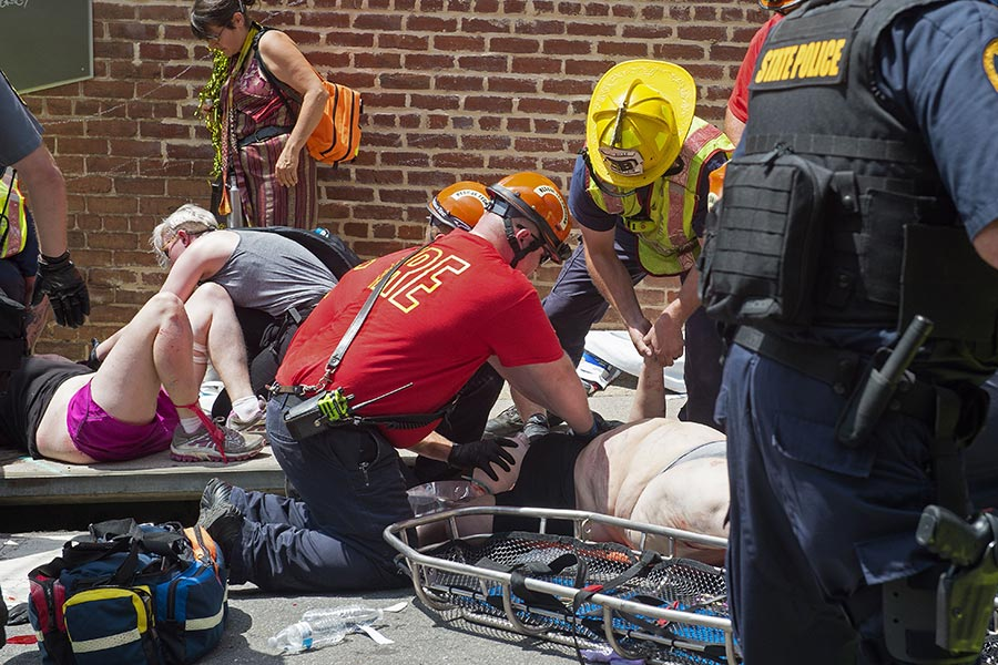 2017年8月12日,美國維珍尼亞州。(PAUL J. RICHARDS/AFP/Getty Images)