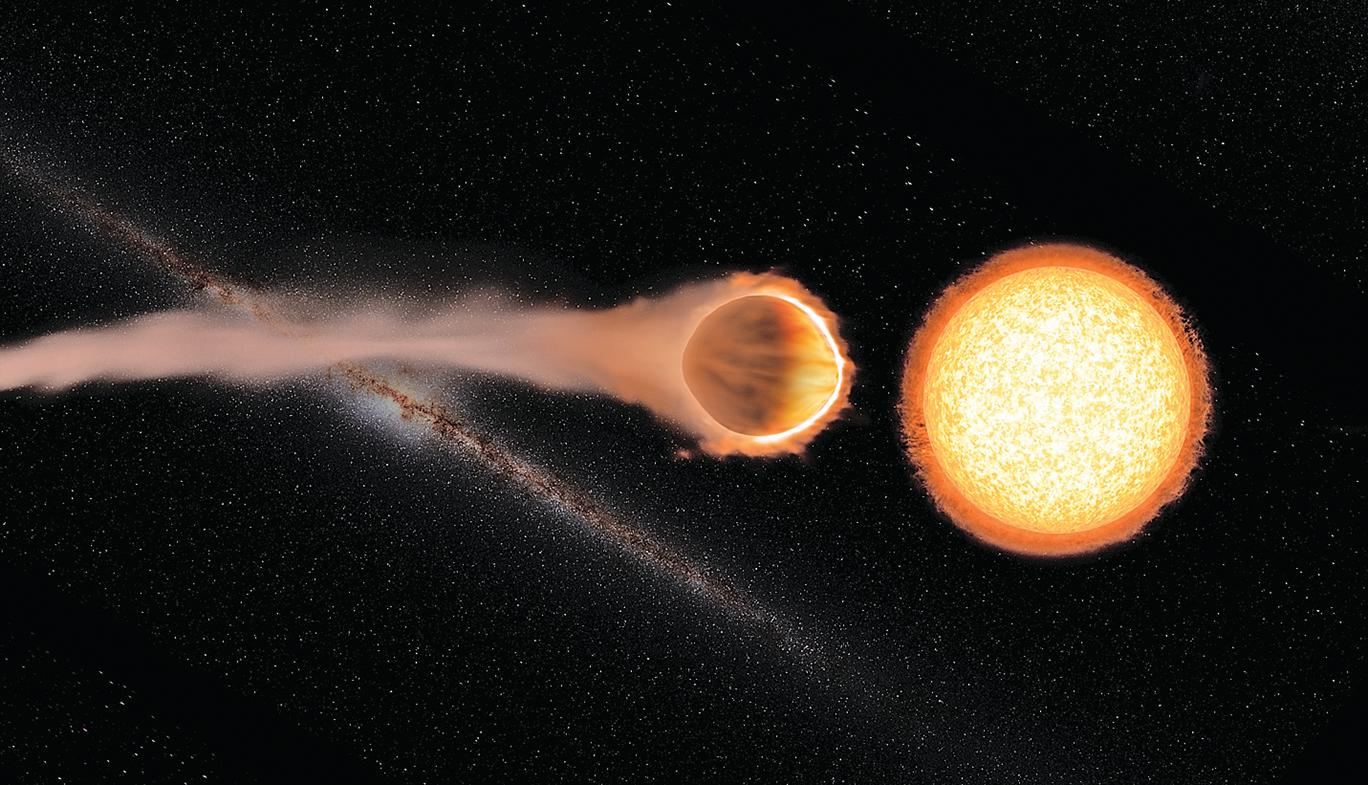 WASP-121b的大氣最上層的溫度可達2,500攝氏度。這顆有趣的熱行星距離主星很近,約1.3天繞行一周,可以說它的一年僅相當於地球的1.3天。(NASA)