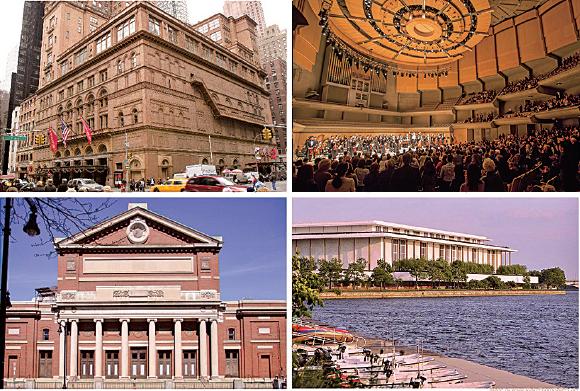 神韻交響樂團每年在世界頂級劇院演出,包括紐約卡內基音樂廳(左上)、波士頓交響樂音樂廳(左下)、多倫多羅伊湯姆森音樂廳(右上)、華盛頓甘迺迪藝術中心(右下)。(大紀元合成圖)