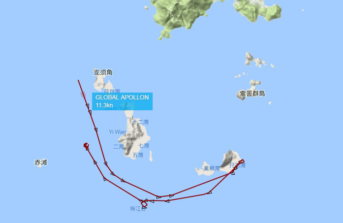 航行路線圖顯示,船隻撞船當天,由西北面進入大蜘州的南部,撞船後,轉向西面向桂山島方向,並於桂山島的西面停泊。(環保觸覺提供)