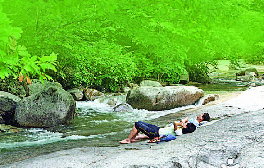 清涼的夏日 流淌的溪谷