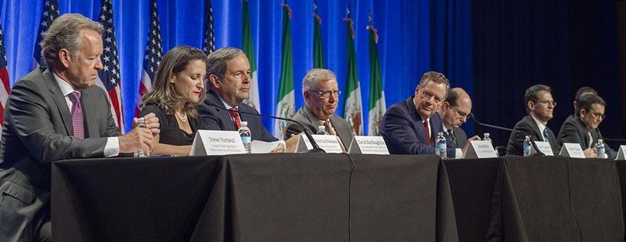 美國、加拿大、墨西哥星期三(8月16日)正式重啟《北美自由貿易協定》(North American Free Trade Agreement, NAFTA)談判。(PAUL J. RICHARDS/AFP/Getty Images)