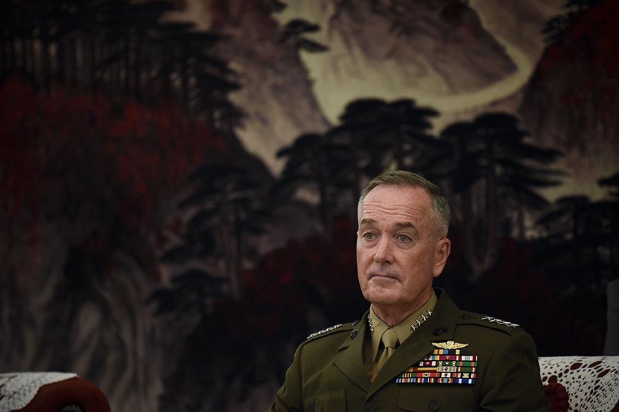 美國參謀長聯席會議主席鄧福德(Joseph Dunford)在訪問中國時表示,中國需要對北韓施加更大壓力,而美國有調用各種軍事能力的決心,以保護本國及其盟國。(WANG ZHAO/AFP/Getty Images)