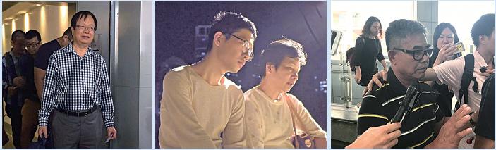 「雙學三子」父母以不同方式表達對兒子的支持,周永康的父(左圖)母、羅冠聰的父親(右圖)到庭旁聽;羅冠聰母親日前受訪表達對羅和其他年輕無私的抗爭人士被判刑感心痛;黃之鋒母親發文指三子堅守「和平非暴力」原則建構更美麗香港的路上不會孤單,因有大批港人守望著他們。(左至右:港台、視頻截圖、大紀元)