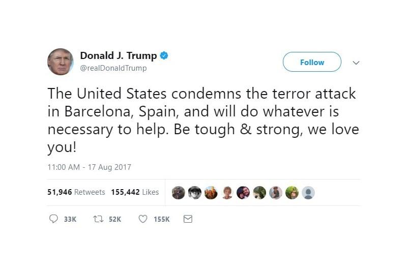 美國總統特朗普和副總統彭斯周四(17日)譴責當天發生在巴塞隆拿的恐怖襲擊事件,並表示美國準備協助西班牙當局追捕和嚴懲肇事者。(推特擷圖)