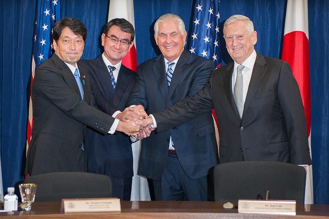美國與日本8月17日在華府舉行兩國國防和外交部長的2+2「安全保障磋商委員會」會議。(美國國務院網頁www.state.gov)