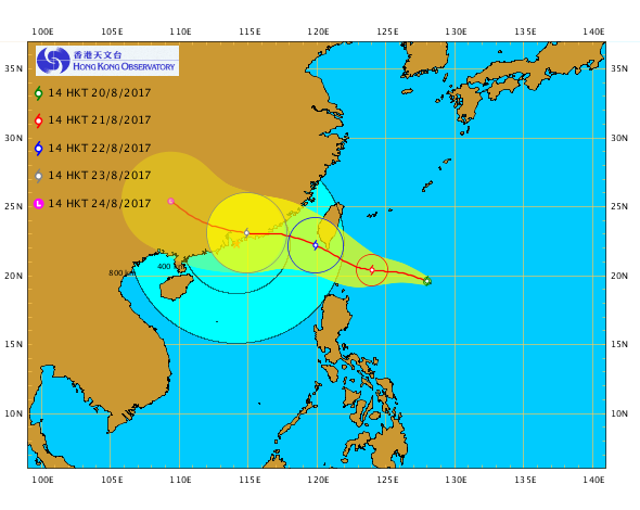 在下午2時,熱帶低氣壓天鴿位於呂宋以東,距離香港約1400公里,中心附近最高持續風速達到每小時55公里,並向南海北部移動。(天文台)