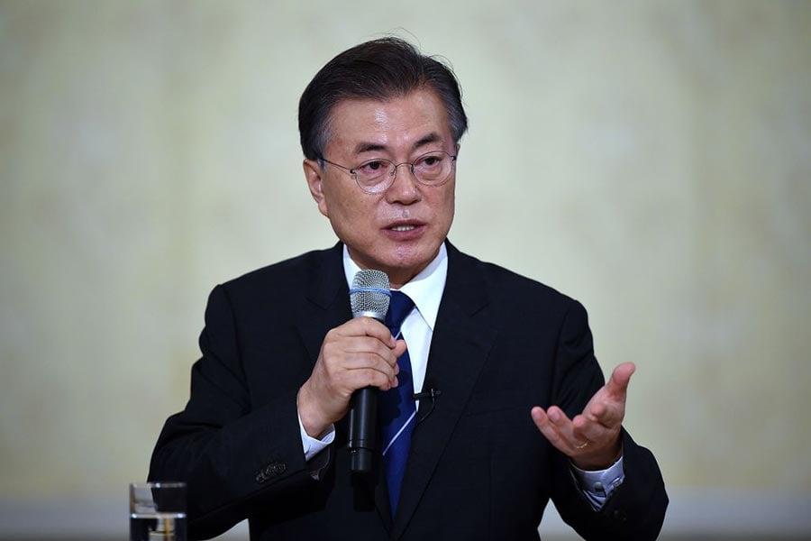 周一(8月21日)南韓總統文在寅強調,美韓軍演的目的是檢驗南韓的防禦狀況、確保國民安全,絕無加劇半島緊張局勢之意。(Jung Yeon-Je-Pool/Getty Images)