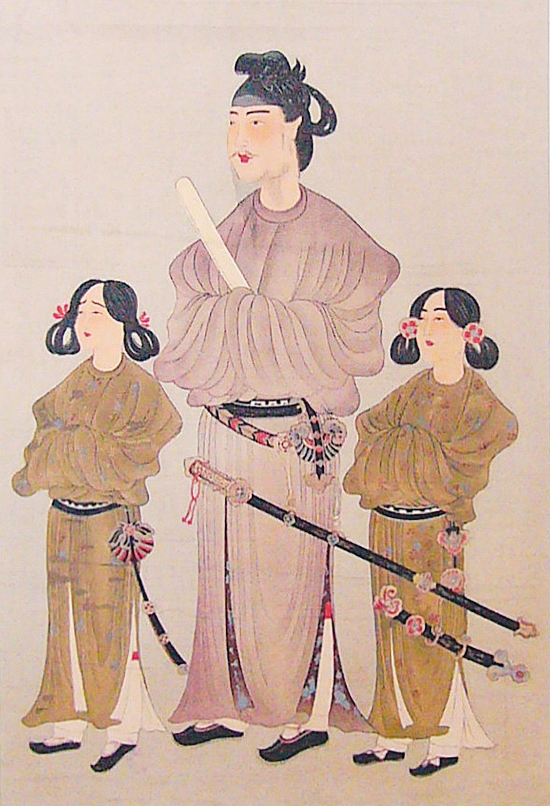聖德太子(中)及其皇弟殖栗皇子(左)和長子山背大兄王(右)的肖像畫。雕版印刷畫,公元8世紀。(公有領域)