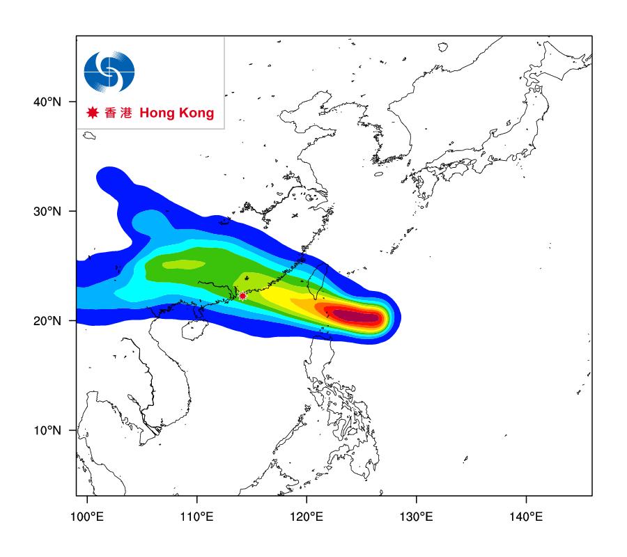 天文台亦於昨日公佈推出「熱帶氣旋路徑概率預報」試驗版,預測熱帶氣旋路徑的概率。按照昨日發佈的預測數據,熱帶風暴「天鴿」正面吹襲香港的概率在百分之40至50之間。(香港天文台)