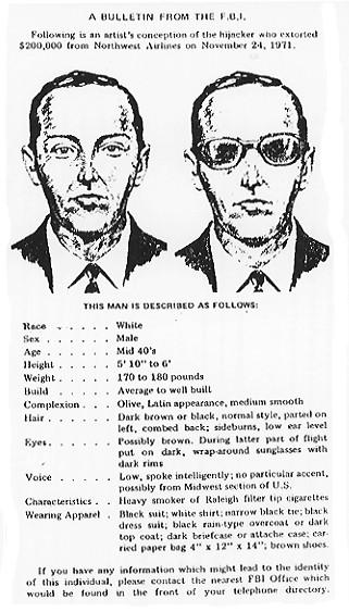 多年來,庫珀的形象,就是聯邦調查局公佈的兩張疑犯草圖。(FBI)