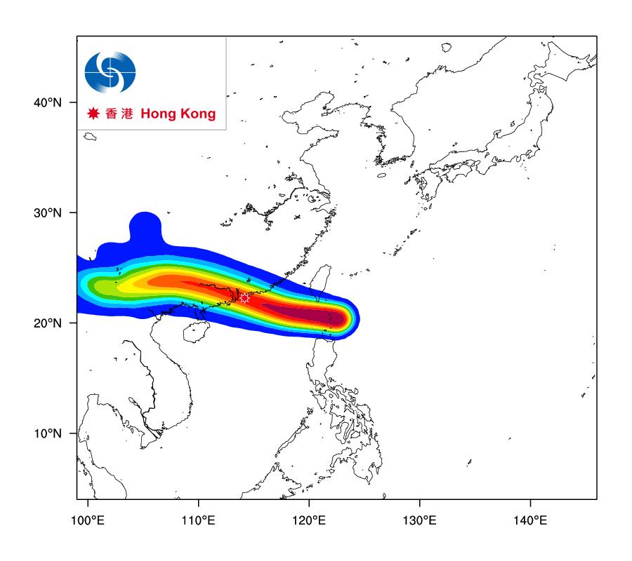今日下午天文台再度更新「熱帶氣旋路徑概率預報」數據時,熱帶風暴「天鴿」正面吹襲香港的概率提升到高達百分之80至90之間。(香港天文台)