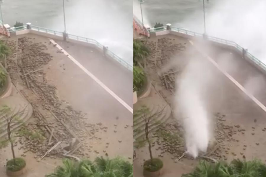 港島南區海怡半島的海濱長廊堤岸損毀,海水如噴泉般噴出。(WhatsApp群組)