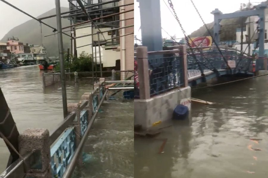 大澳被水掩,街頭水深一度及腰。(Ki Cheong Lee/生於大澳 長於大澳Facebook群組)